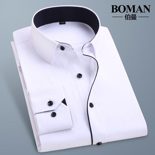 Весна и осень мужской длинными рукавами рубашки бизнес случайные платье формальный сплошной цвет белая рубашка тонкий мужской clothing