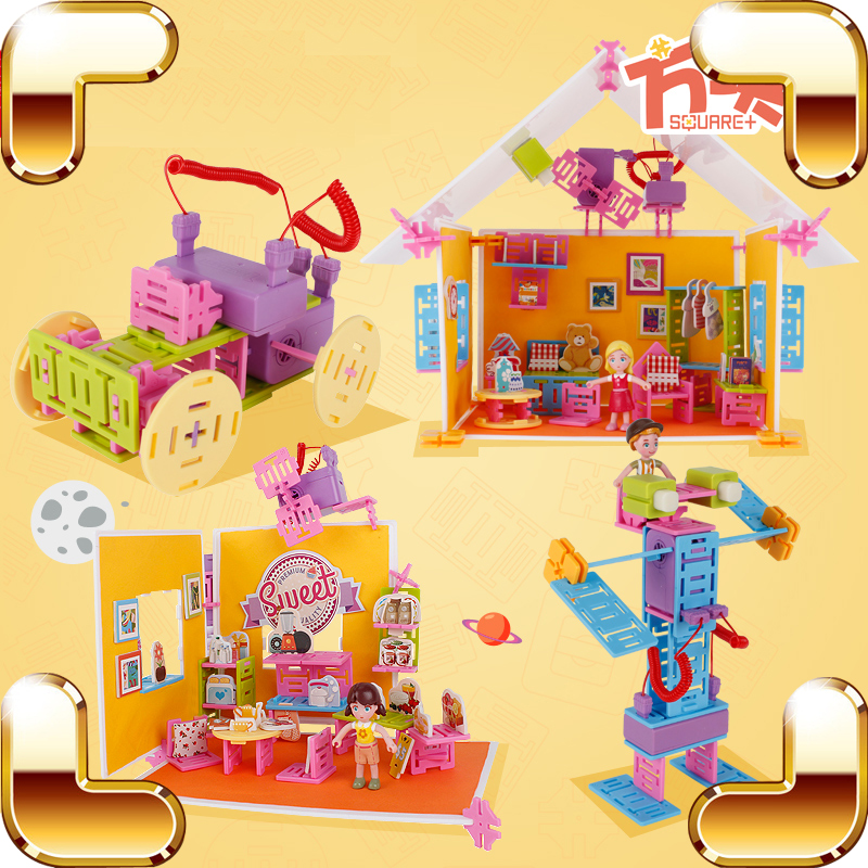 Cadeau de fête des enfants 3D modèle Construction jouets enfants bricolage maison voitures Robot modèles éducation jeu créatif partie électrique