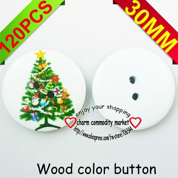 30mm árbol de Navidad botones de costura pintura botón de madera ...