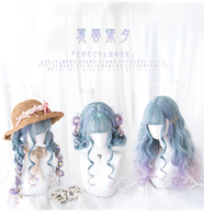 Lolita Cosplay Wig Harajuku Gradient Blue Mixed Purple Sweet Body Wave Curly Harajuku Long Synthetic Hair for Adult Girls