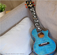 Enya 5A Flame Maple Blue Ukulele 23 26 Flower series Concert/Tenor Hawaii Guitar 4 String musical instruments