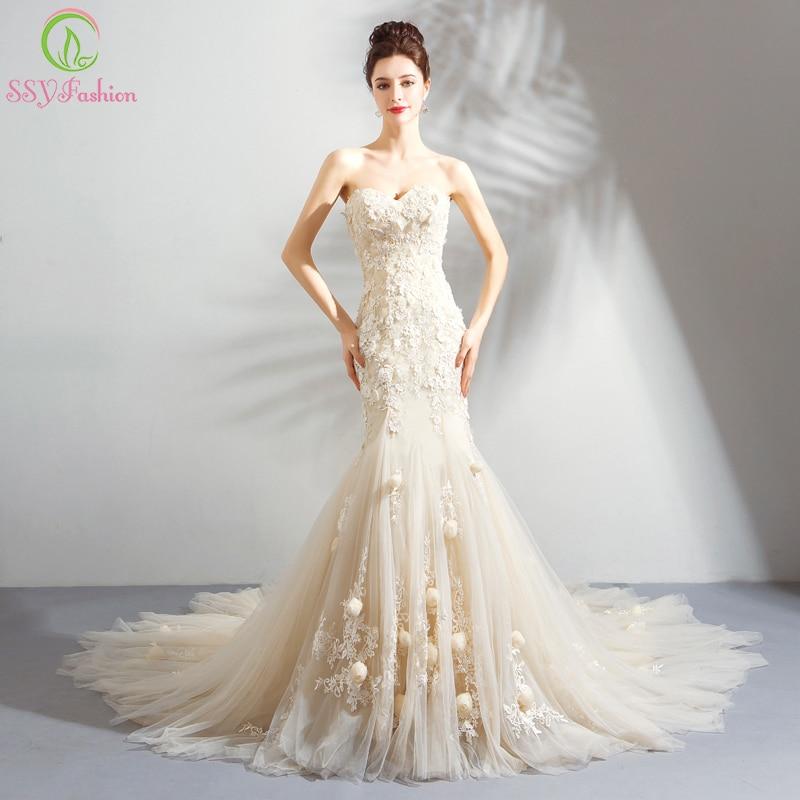 Sweetheart Mermaid Wedding Gown: SSYFashion New Romantic Light Champagne Mermaid Wedding