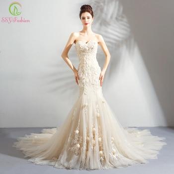 SSYFashion New Romantic Light Champagne Mermaid Wedding Dress Sweetheart Lace Flower Fishtail Wedding Gown Vestido De Noiva