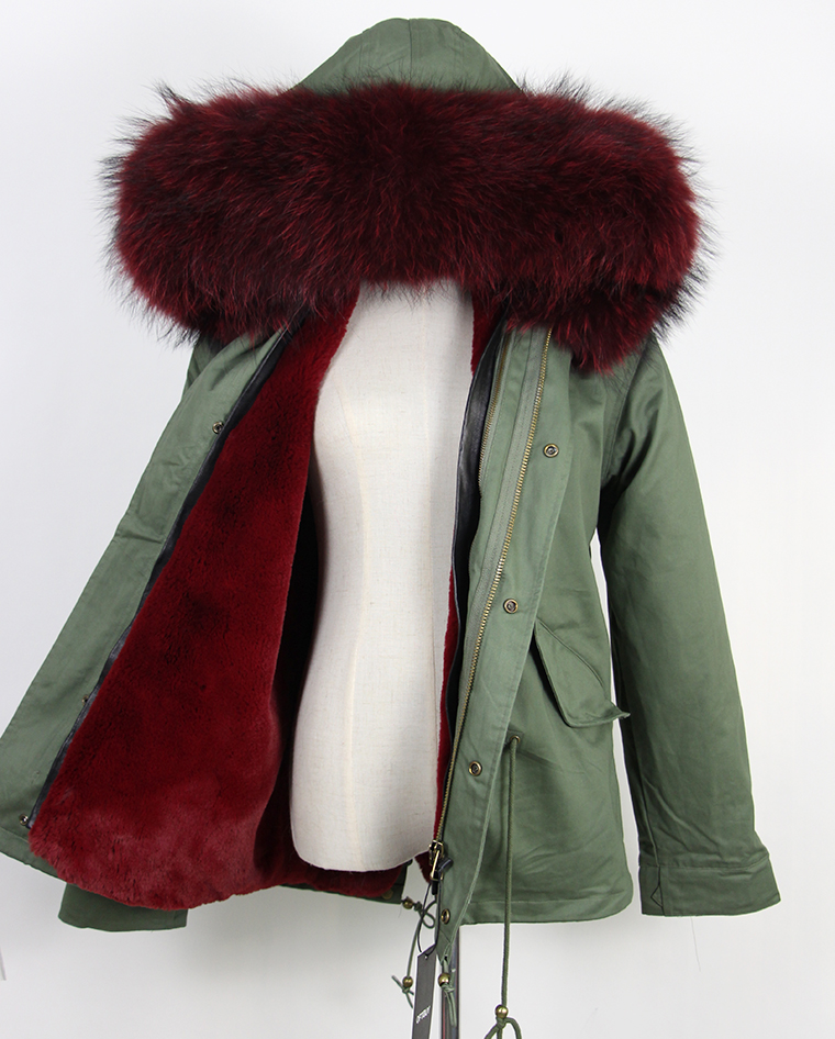 OFTBUY 2016 New Wine red big raccoon fur hood winter jacket women parka natural real fur coat for women thick soft lining