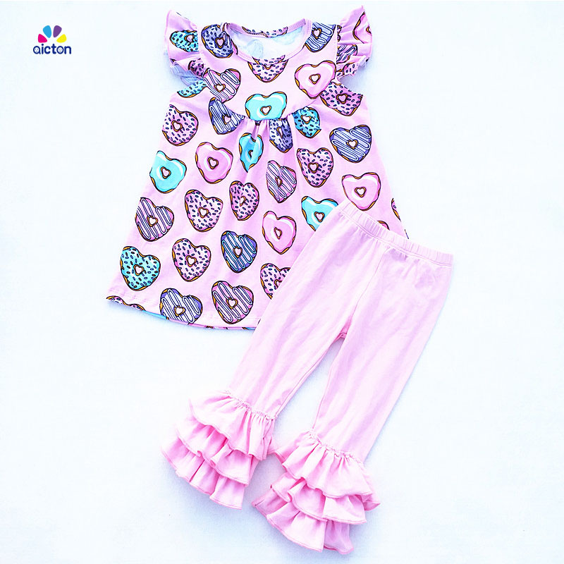 New arrival love heart doughnuts printing baby girls boutique outfits girls valentine's day sets cotton ruffle pants set for gir матрас универсальный в коляску esspero baby cotton heart 108068284