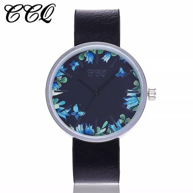 2a887948e69 CCQ Marca Mulheres Padrão Floral Luxo Relógios de Pulso Moda Casual  Pulseira de Couro Relógio de