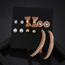 New 6 Pairs/Set Vintage Bowknot Pearl Stud Earring For Women Sliver And Rose Gold Color Set