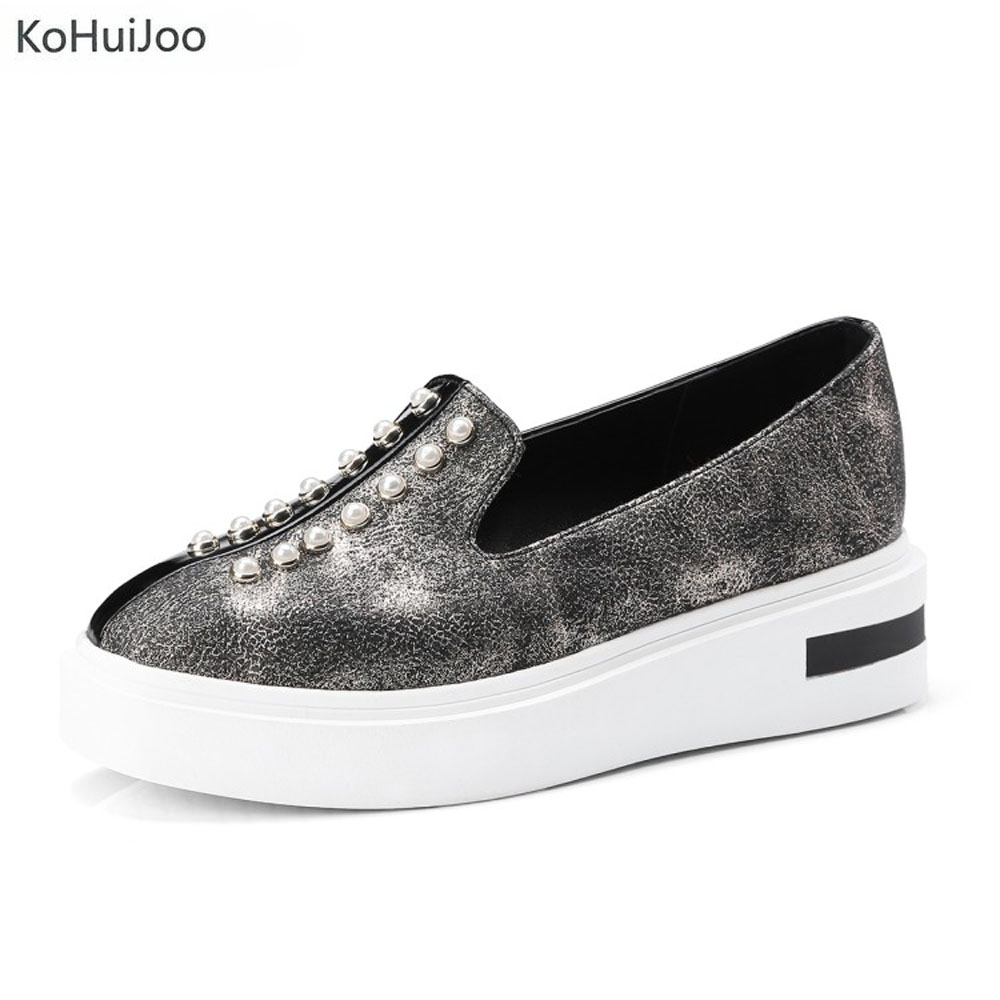 KoHuiJoo Spring Autumn Casual Women Flats Shoes Beading Round Toe Loafers Platform lazy Hemp Rope Weave Shoes Slip on Big Size women and men s casual flat shoes loafers fisherman espadrilles boat shoes men lazy hemp rope weave shoes size 35 45