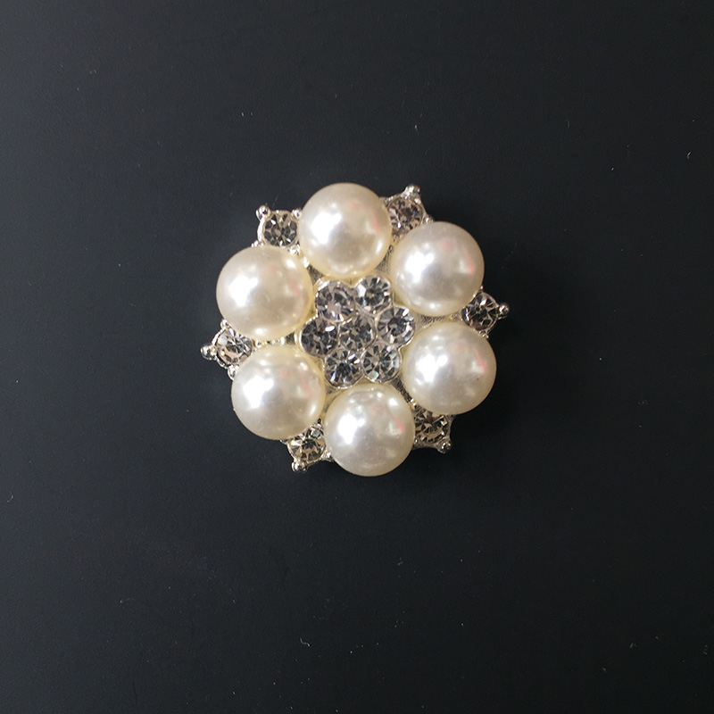 5Pcs Rhinestone Button Faux Pearl Flower Hair Accessories Wedding Embellishment Scrapbooking Alloy Motif For Invitation Card in Rhinestones from Home Garden