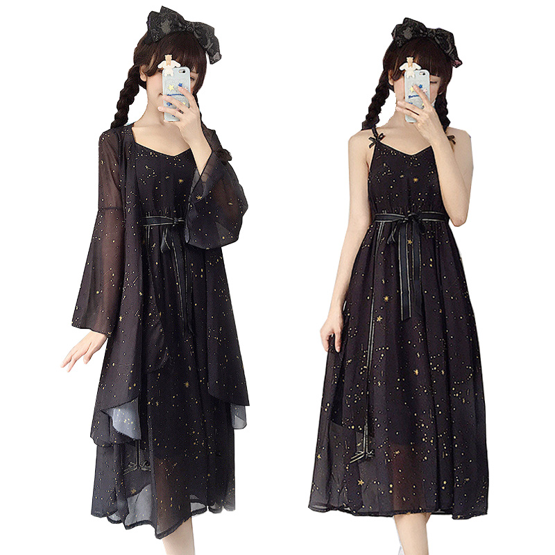Anime Girls Cosplay Costume Lolita Starry Sky Dress Coat Female Summer Suit Chiffon Prevented Bask Clothes Sleeveless Long Dress