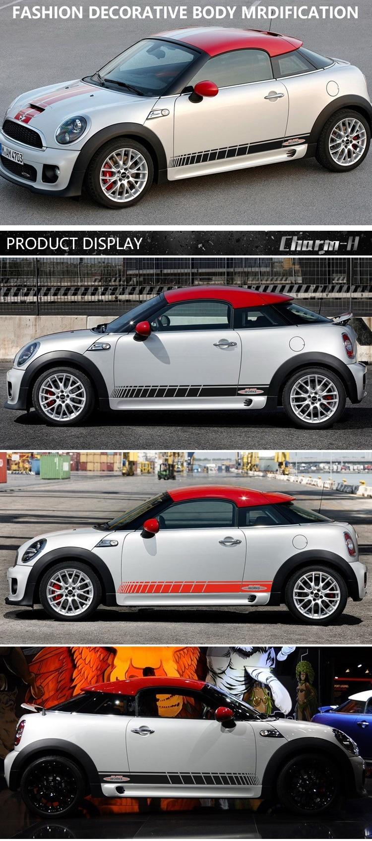 Автомобильный стиль, дверь, боковая полоса, юбка, наклейка, графическая наклейка для Mini Cooper Coupe R58 R57 F57 R59 Roadster R56 F56 JCW, аксессуары