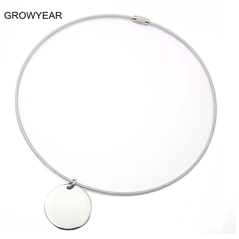 Silver Color Fashion Women Round Pendant Wire Necklace Stainless ...