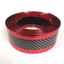 2.5m De Fibra De Carbono Cor Proteger do Peitoril Da Porta Scuff Protetor Placa Fender Lado Do Carro Corpo Saia Sobrancelha Decoração Grelha