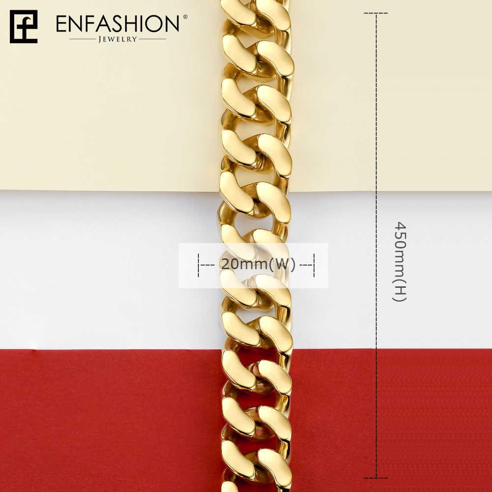 سلسلة ربط قوية وكبيرة من Enfashion قلادة للنساء من الفولاذ المقاوم للصدأ بلون ذهبي للسيدات مجوهرات للرجال طراز PM3014