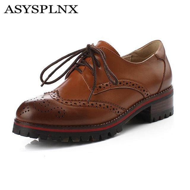 ASYSPLNX saltos quadrados de couro Genuíno clássico de metal mulheres oxfords vestido sapatos primavera dedo do pé redondo sapatos mulher sapatos oxford das mulheres