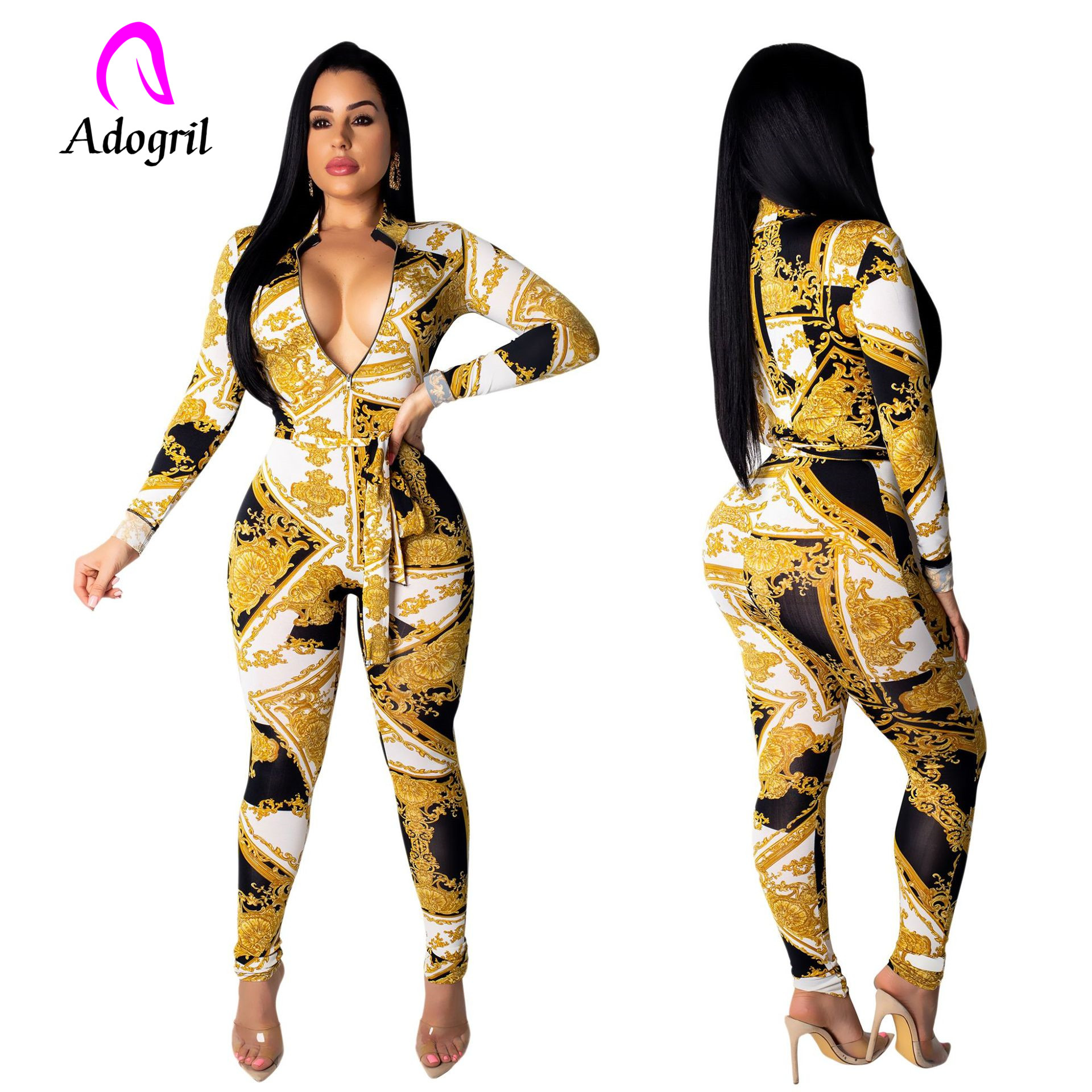Shinning Front Zipper Patchwork Patterned Jumpsuit Long Sleeve Sashes Women Jumpsuits Skinny One Piece Female Bodysuits