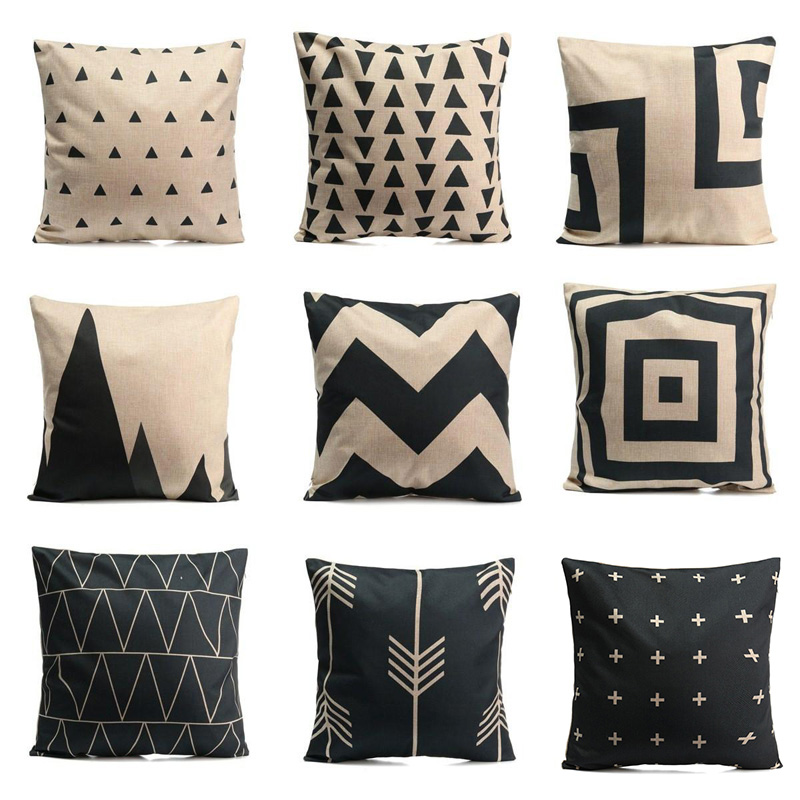 Vintage Black White Pillow Covers Geometric Pillow Case Striped Cushion Cover for Home Sofa Decoration Pillowcase