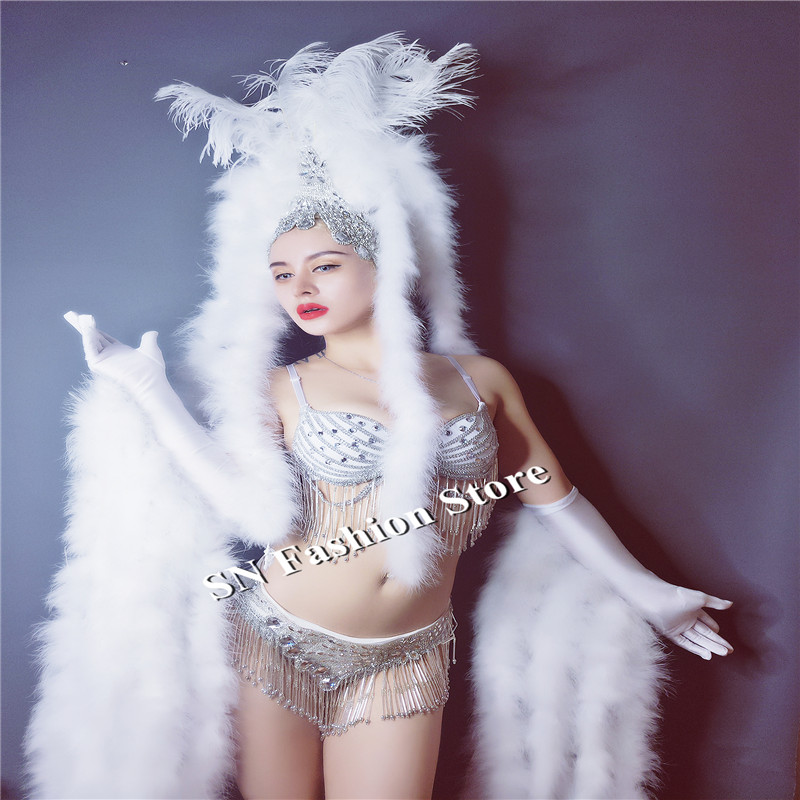 EC51 Ballroom dance feather costumes white bikini bra models performance stage show clothe dj bar club dresses sexy outfit party