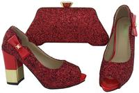 Latest African Women Shoes And Handbag Set Bling High Heel Shoes Italian Fashion Shoes And Bag
