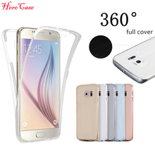 S8 S7edge Case Front+Back Cover Full Body Protective Soft TPU Transparent Coque For Samsung