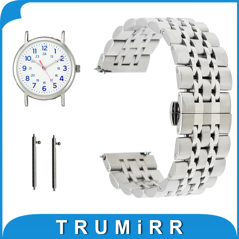 20mm 22mm Stainless Steel Watch Band for Timex Weekender Expedition Butterfly Buckle Strap Quick Release Wrist Belt Bracelet timex часы timex tw4b03500 коллекция expedition