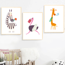 Zebra Ostrich Giraffe Nordic Poster And Prints Wall Art Canvas Painting Pictures For Kids Baby Boy Girl Room Home Decor