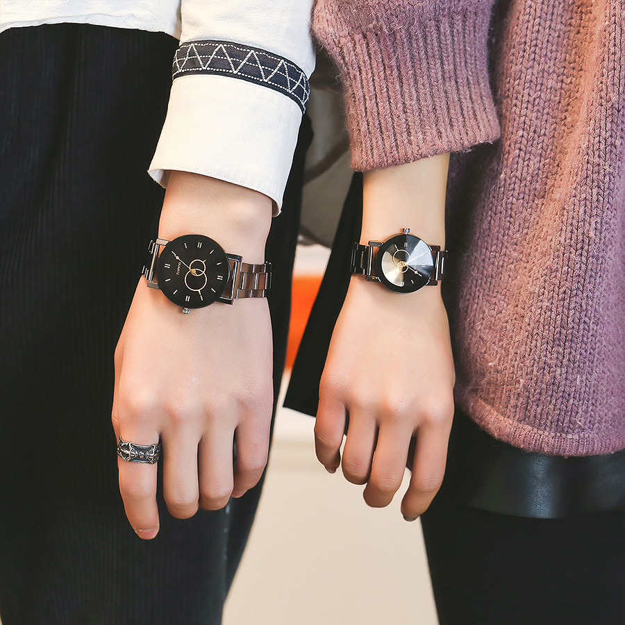 Vansvar Lover's Wrist Watch Casual Quartz Stainless Steel Band Marble Strap Analog Reloj En Pareja Couples Watch Man And Ladies