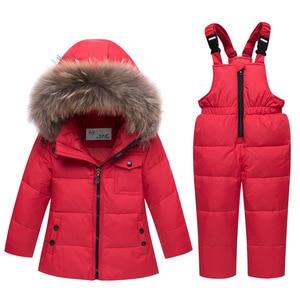 Image 2 - 2020 children autumn winter thin down jacket parka real Fur boy baby overalls kids coat snowsuit snow clothes girls clothing Set