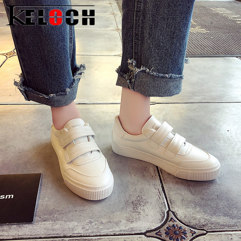Keloch WomenS Casual Flats Shoes Comfortable Pu Leather Vulcanize Shoes Women Fashion Spring Summer White Sneakers Women