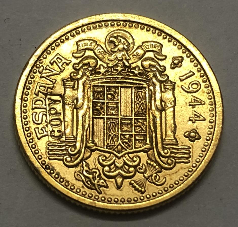 1944 Spain 2.5 Pesetas-Trial Strike Pattern Copy Coin