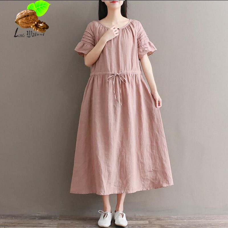 New Women Summer Draped Butterfly Sleeve Vintage Cotton Linen Long Flounce Dresses Mori Female Lolita Small Fresh Pink Dress
