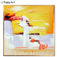 Handmade Bright Colors Abstract Oil Painting on Canvas for Living Room Wall Decor Hand Painted Modern Yellow