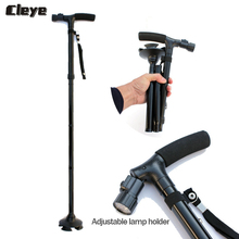 Cleye Professional Old Man Walking Stick Folding LED Lighted Cane Old People Small Four-legged Foldable Crutches for Elderly