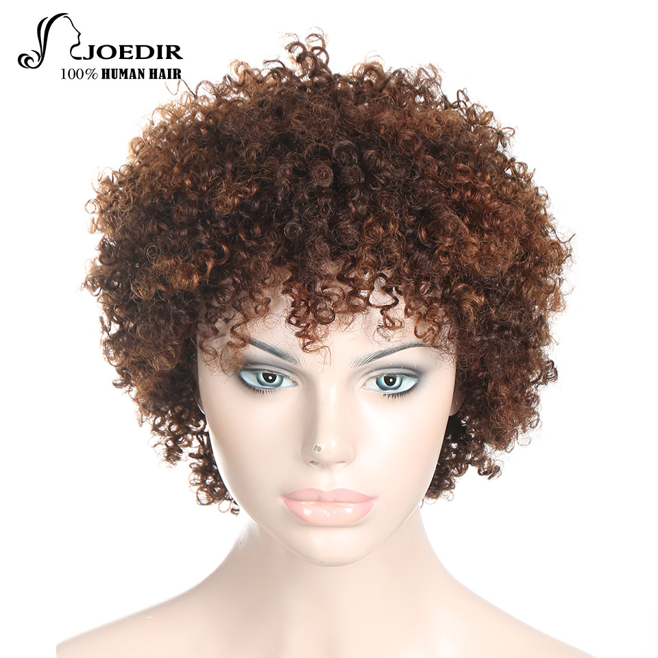 Joedir Wigs Pixie Curly Hair Human Hair Wigs Brazilian Remy %100Human Hair Machine Made  ...