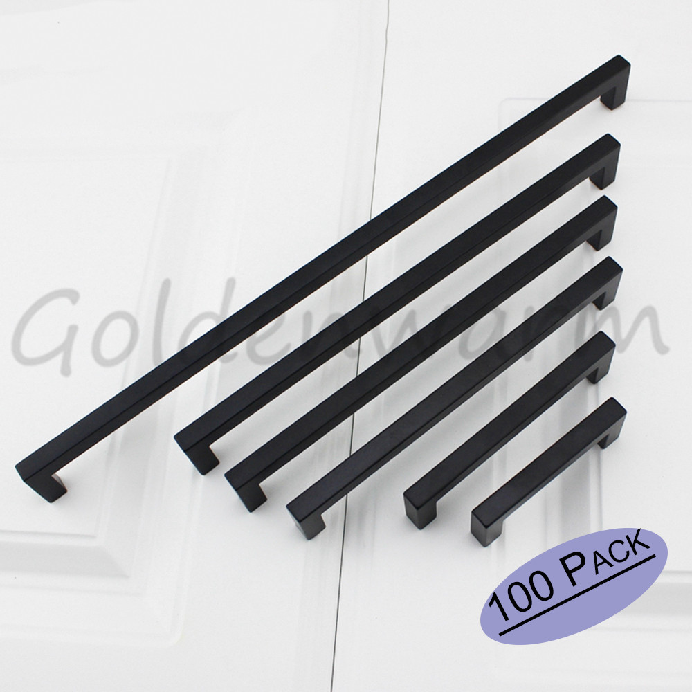 Kitchen door handles stainless steel - 100 Pcs Cabinet Handles Flat Black Square Bar Stainless Steel Hole Spacing 96 Mm 3 75