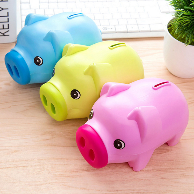 Top Portable Cute Plastic Piggy Bank Saving Cash Coin Money Box Children Toy Kids Gifts