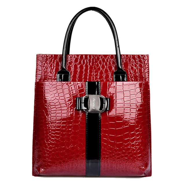 FGGS Lady Women Crocodile Pattern Handbag Satchel Tote Shoulder Bag Messenger Color:Red Size:Vertical Version
