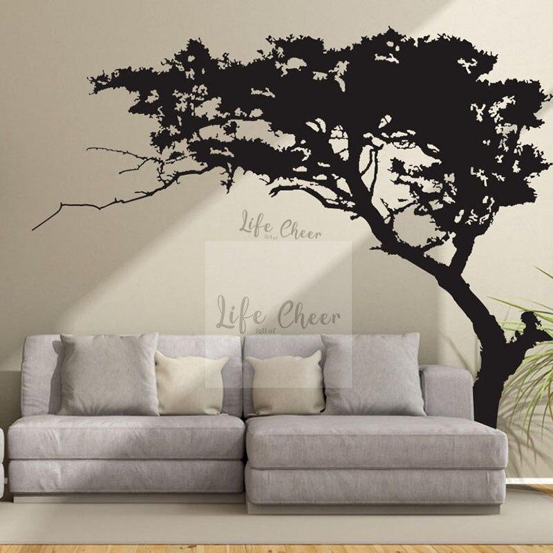 Grande taille pin arbre mur autocollant amovible salon peintures murales Style naturel grand arbre vinyle stickers muraux Art créatif AC210