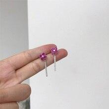 S925 silver needle Korean earrings Medium long four-leaf clover Purple purple simple hot selling