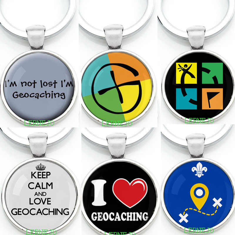 Outdoor Game Geocaching Symbol Key Chain Key Ring Keyring Gratuit Free Geocaching Activity Keep Calm and Love Pendant Travel Tag