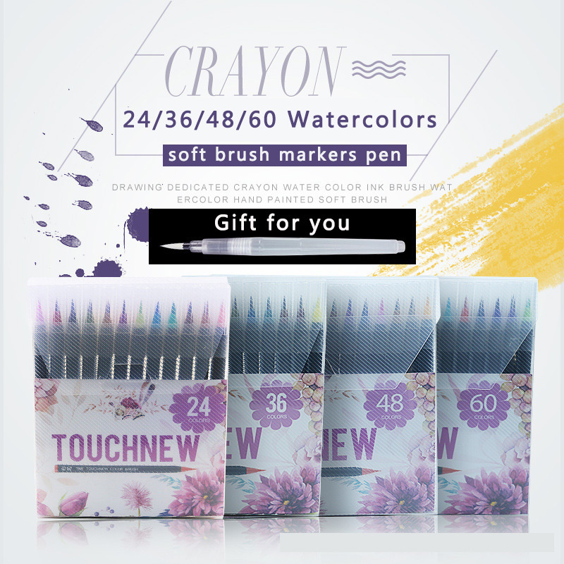 Touchnew 24 36 48 60 Colors Watercolor Art Markers Pen Set Premium Soft Brush Marker For Drawing Manga design Painting Supplies bgln 20 colors painting brush set soft drawing watercolor marker painting brush for school student manga brush pen art supplies