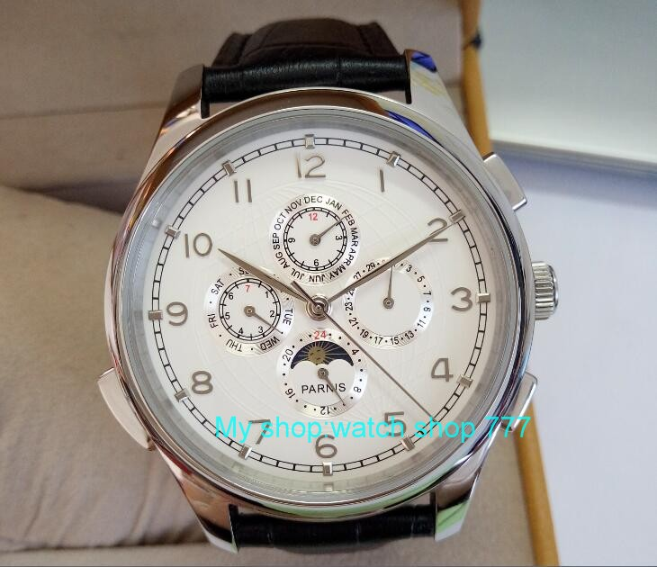 44mm PARNIS White dial Automatic Self-Wind Multi-functionmen Men's Watch wholesaleMechanical watches 0382aa