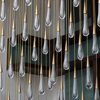 Gold Water drop Crystal Creative Pendant Light European style Luxury LED Lamps Moderm Glass Indoor Lighting Restaurant