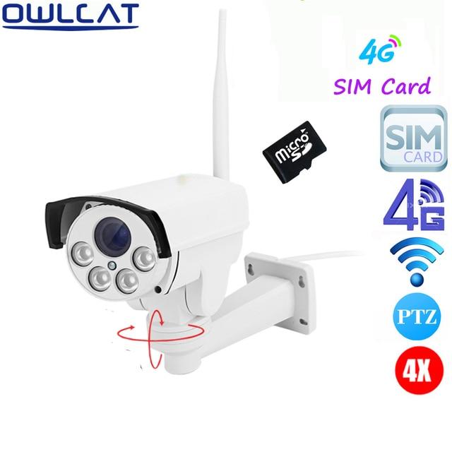 "OwlCat 3516C+1/2.8"" SONY323 HD 1080P 960P 5X Zoom Auto Focu Outdoor PTZ Bullet WIFI IP Camera Wireless 4G SIM Card SD card"