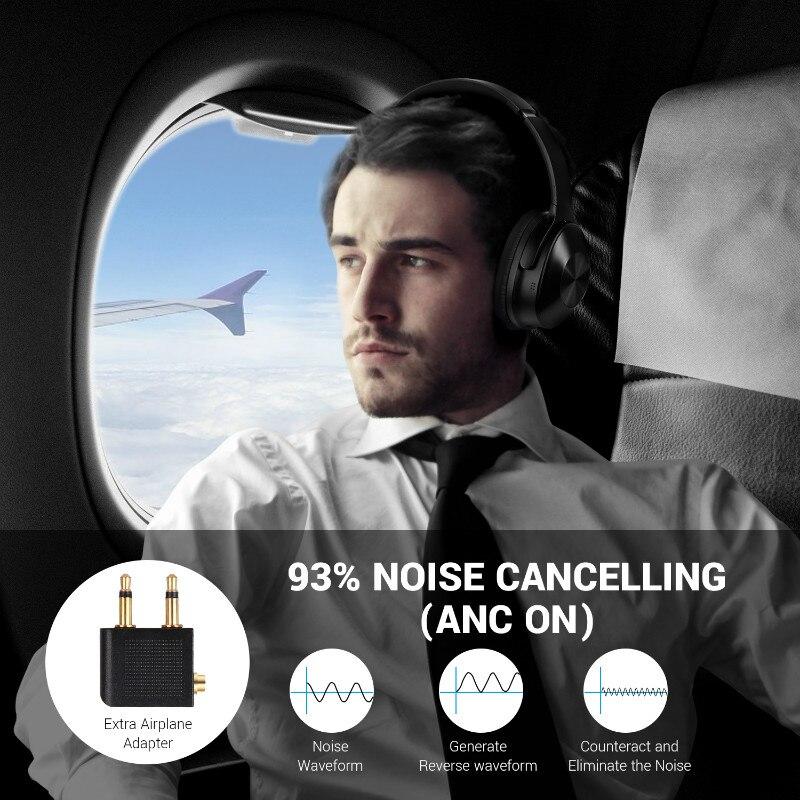 Oneodio A9 Bluetooth наушники с активным шумоподавлением Беспроводная гарнитура складные Hifi наушники для путешествий и музыки - 4