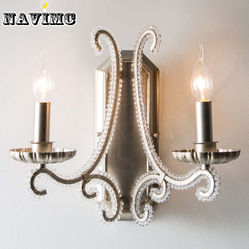 American Bedroom led Crystal Wall Lamp Living Room Wall Light Iron Bedside Lamp Modern Wall Sconces for Hallway Balcony modern lamp trophy wall lamp wall lamp bed lighting bedside wall lamp