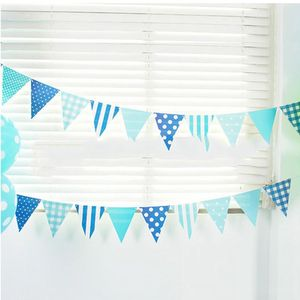 Image 2 - 3m 12 Flag Blue/Pink Paper Board Garland Banner For Baby Shower Birthday Party Decoration Kids Room Decoration Garland Bunting