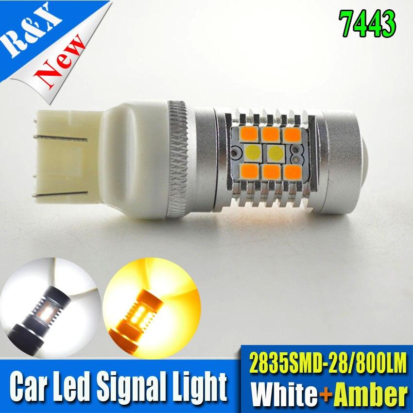 купить New Pair Dual Color 7443 Samsung 2835 chips 28SMD Switchback Light Bulbs High power 12V 24V led White Amber онлайн
