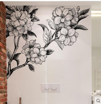 Waterproof adhesive can remove wall large hand painted flowers wall sticker sitting room sofa background the study bedroom ad