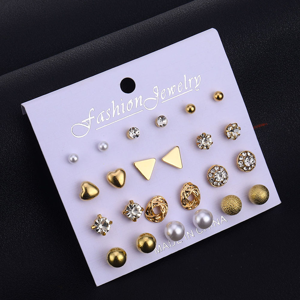FAMSHIN 12 Pairs/Set Women Square Crystal Heart Earrings Set 2019 Bohemia New Crystal Simulated Pearl Earrings For Women Gifts